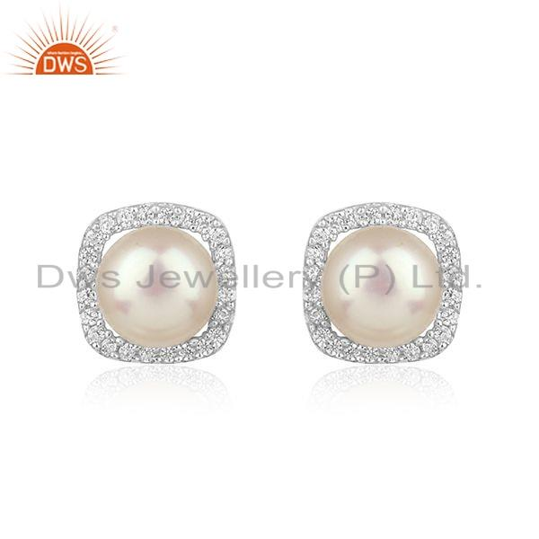 Natural Pearl Gemstone CZ White Rhodium Plated Silver Earrings Jewelry