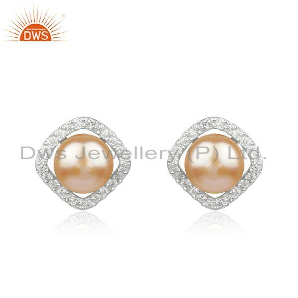 White Zircon and Pink Pearl Gemstone Fine Sterling Silver Stud Earring
