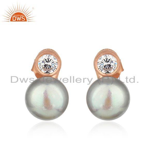 Gray Pearl Gemstone Rose Gold Plated 925 Silver Stud Earrings Jewelry