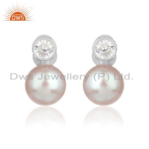 Pink pearl cz gemstone white rhodium plated silver girls earrings