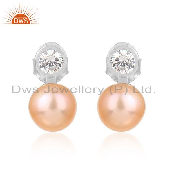 Natural Pink Pearl Gemstone Rhodium Plated Silver Stud Earrings