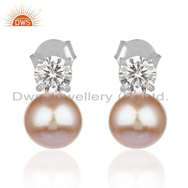 Party Wear Zircon and Pink Pearl Gemstone Fine Silver Stud Earrings