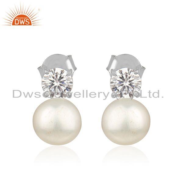 Zircon Natural Pearl White Rhodium Plated 925 Silver Earrings Jewelry