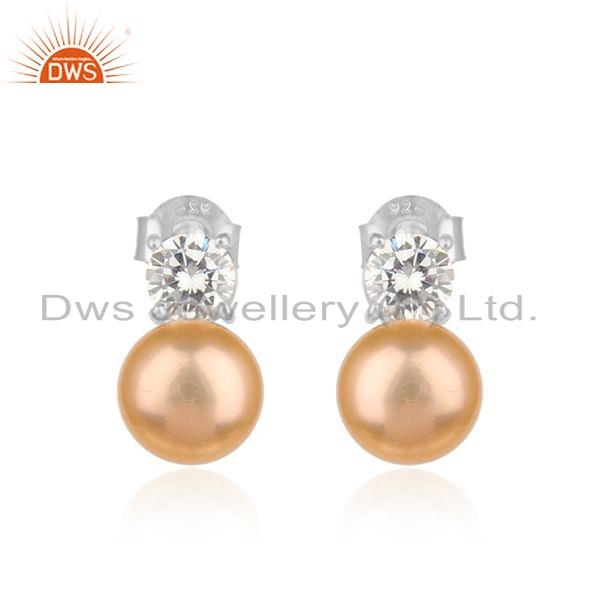 Natural Pink Pearl CZ Gemstone Silver White Rhodium Earrings Jewelry
