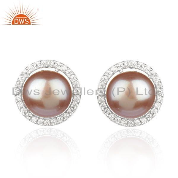 Zircon Pearl Gemstone Silver Round Stud Earrings Jewelry For Womens