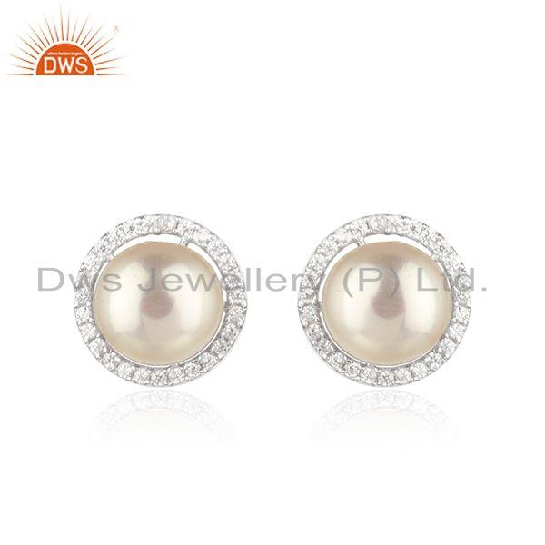 Natural White Pearl CZ White Rhodium Plated Silver Stud Earrings