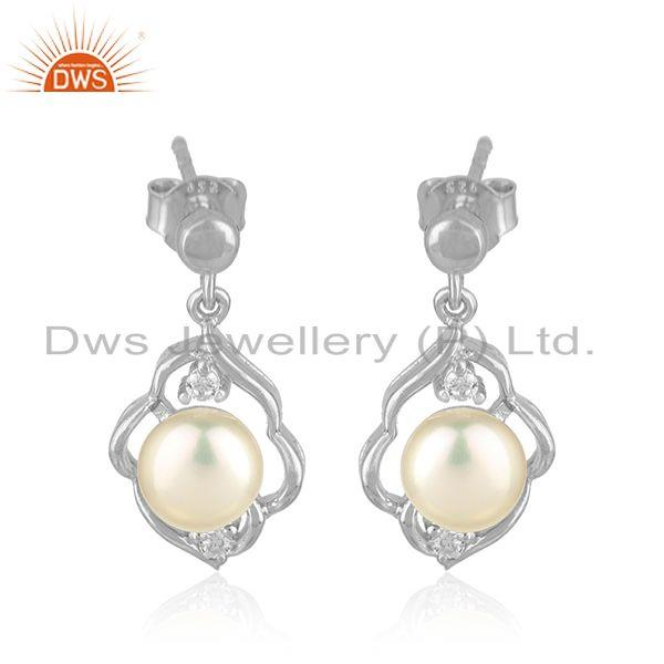 White Rhodium Plated Silver CZ Pearl Gemstone Dangle Earrings Jewelry