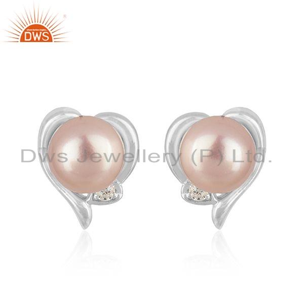 Natural Gray Pearl Gemstone 925 Silver CZ Heart Shape Stud Earrings