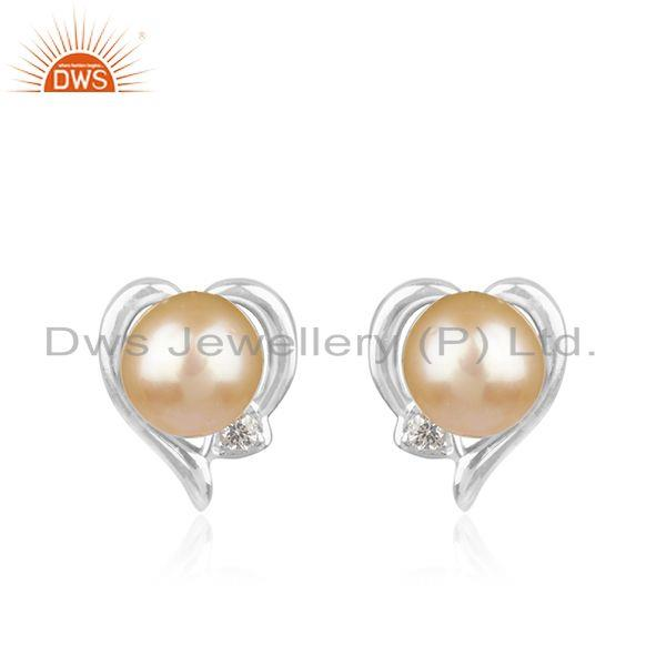 Natural Pink Pearl Gemstone Heart Design Sterling Silver Stud Earrings