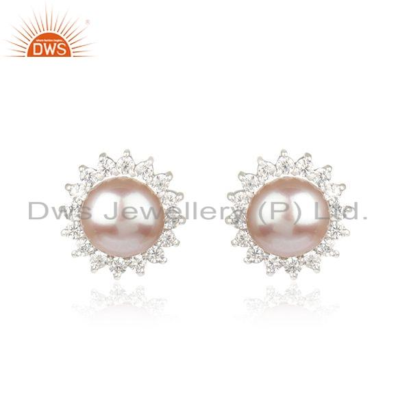 White Rhodium Plated 925 Silver CZ Pearl Gemstone Stud Earring Jewelry