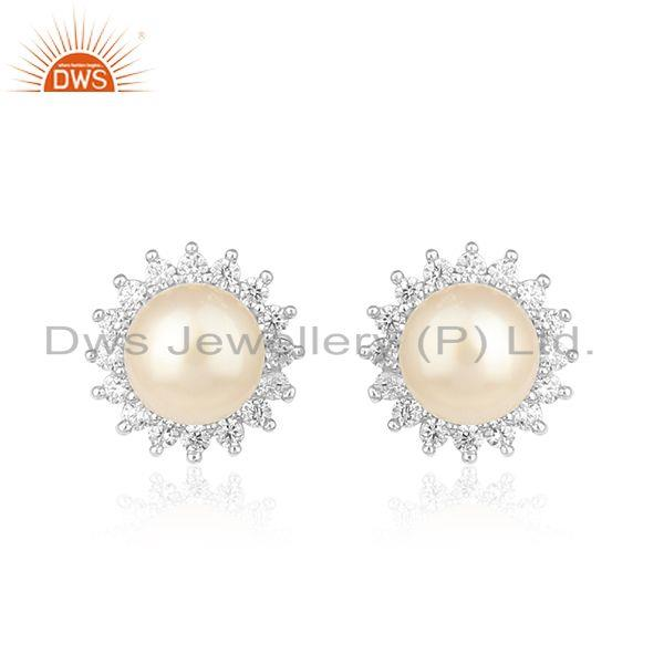 Natural Pearl CZ Gemstone White Rhodium Plated Silver Stud Earrings