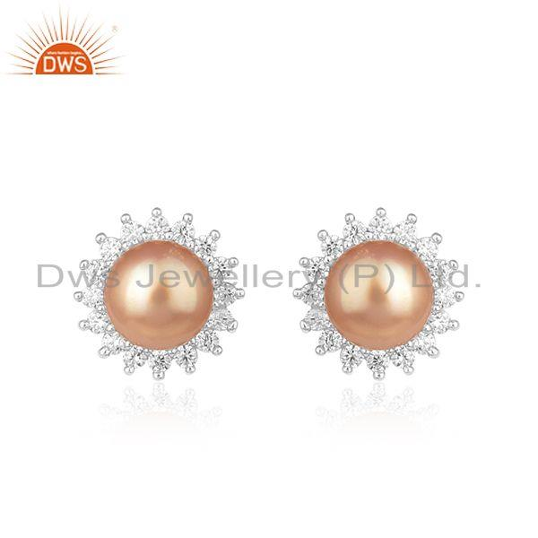 Round Shape White Rhodium Plated Silver CZ Pearl Gemstone Earrings