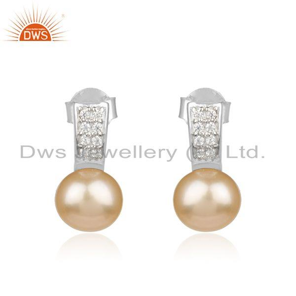 White Rhodium Plated 925 Silver Natural Pearl Gemstone Stud Earrings