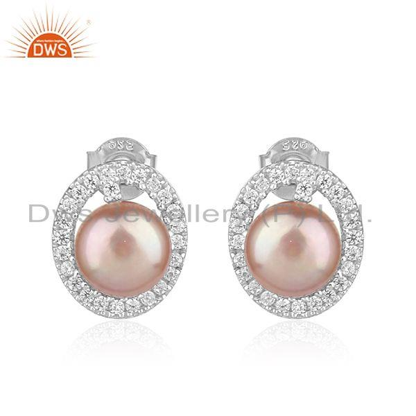 Oval Shape White Rhodium Plated Silver CZ Natural Pearl Earrings