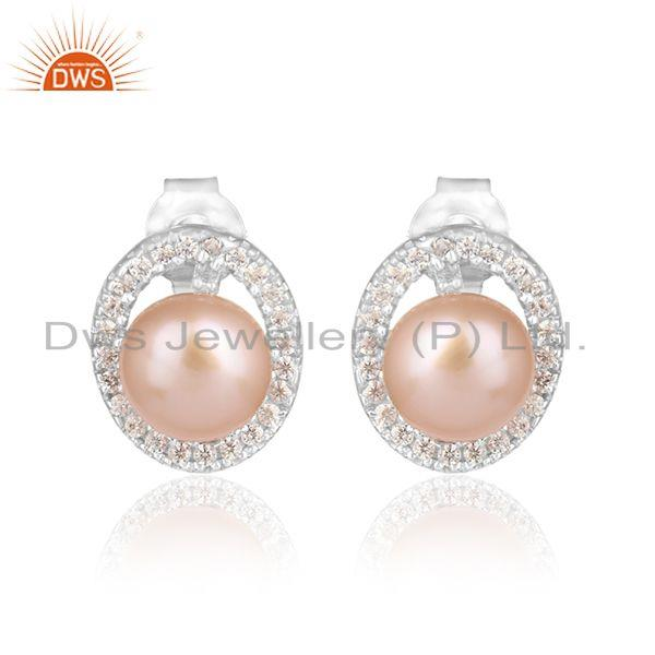 Oval Design CZ Pink Pearl White Rhodium Plated Silver Earrings