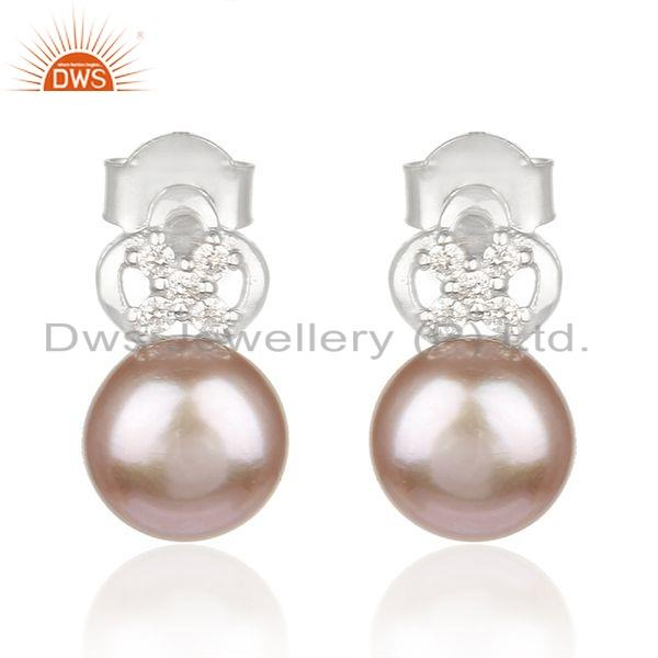 CZ Pink Pearl Gemstone White Rhodium Plated 925 Silver Earring Jewelry