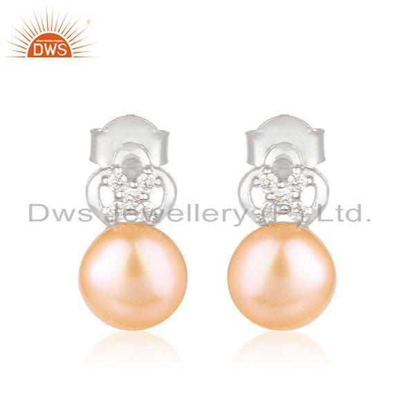Natural Pink Pearl Gemstone Silver White Rhodium Plated Stud Earrings