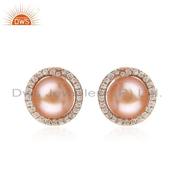CZ Pink Pearl Gemstone Rose Gold Plated Silver Stud Earrings Jewelry