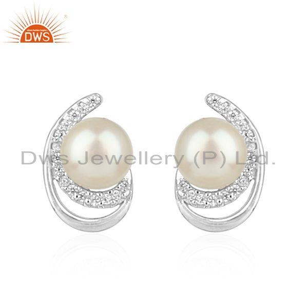 CZ Natural Pearl Gemstone White Rhodium Plated Silver Earrings Jewelry