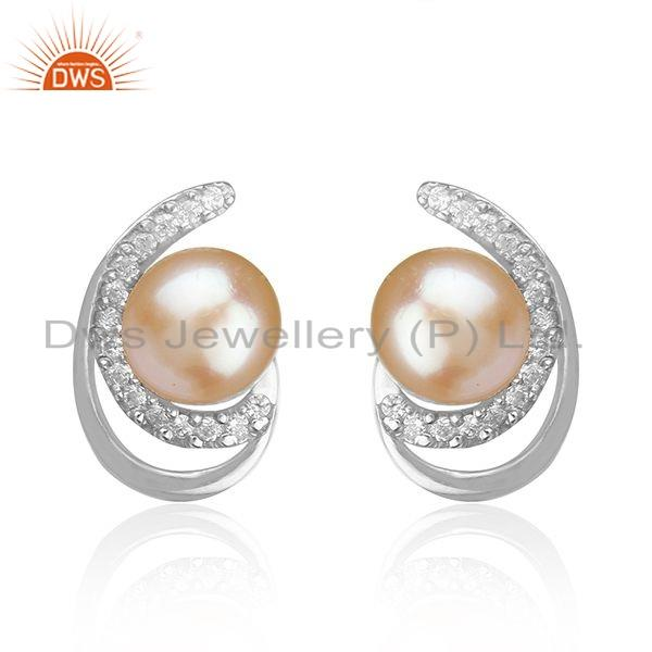 White Rhodium Plated 925 Silver Pearl Gemstone Stud Earrings For Girls