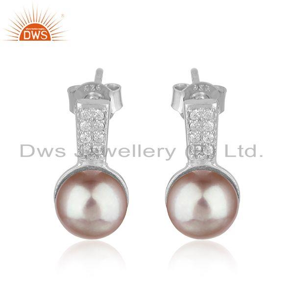 CZ Gray Pearl Gemstone White Rhodium Plated Silver Earrings Jewelry