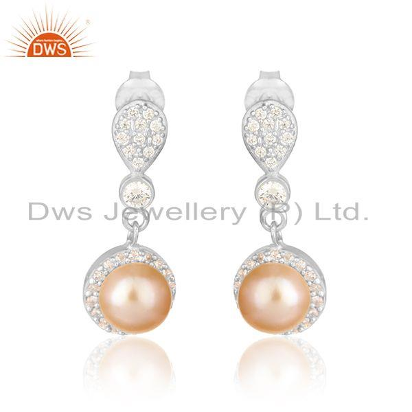 Drop Design White Rhodium Plated Silver CZ Pink Pearl Earrings