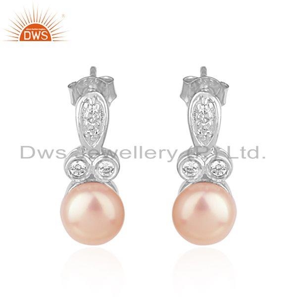 CZ Pink Pearl Gemstone 925 Silver White Rhodium Plated Earring Jewelry