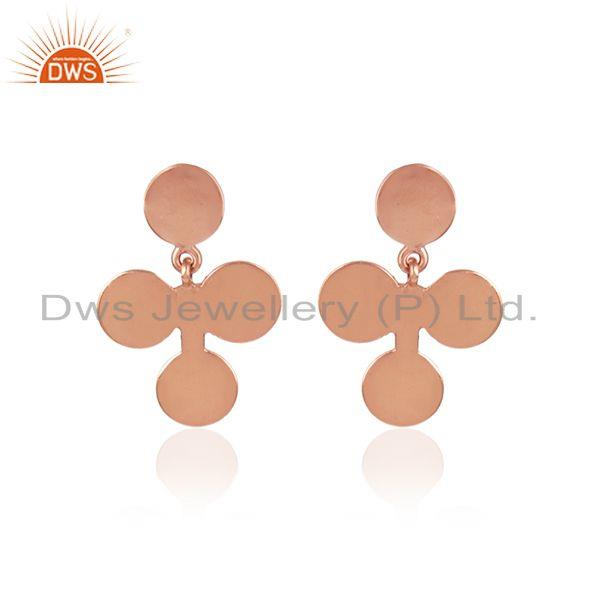 Fortunate four leaf design earring in rose gold over silver 925