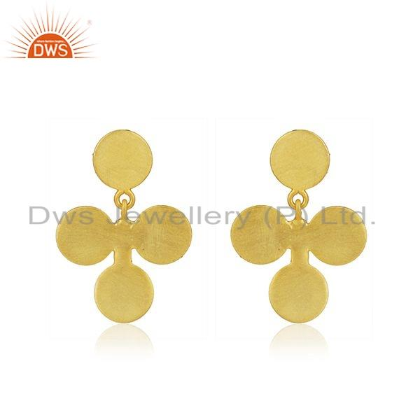 Gold Plated Leaf Designer 925 Plain Silver Earrings Jewelry For Girls