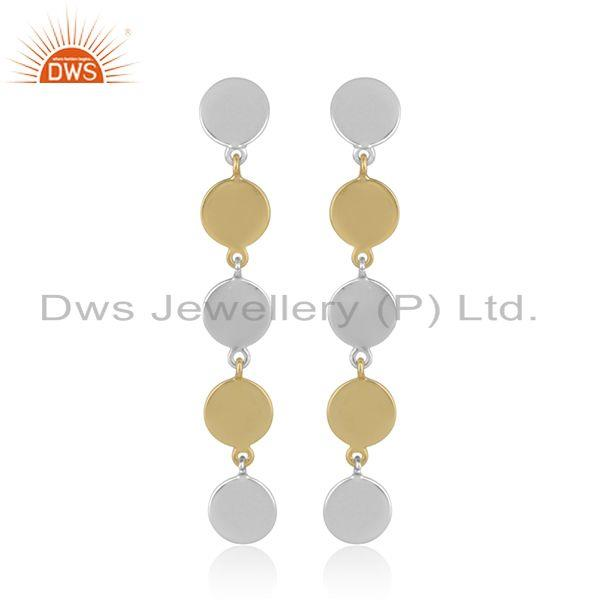 Handcrafted Multicharm Dualtone Gold on Silver Long Earring