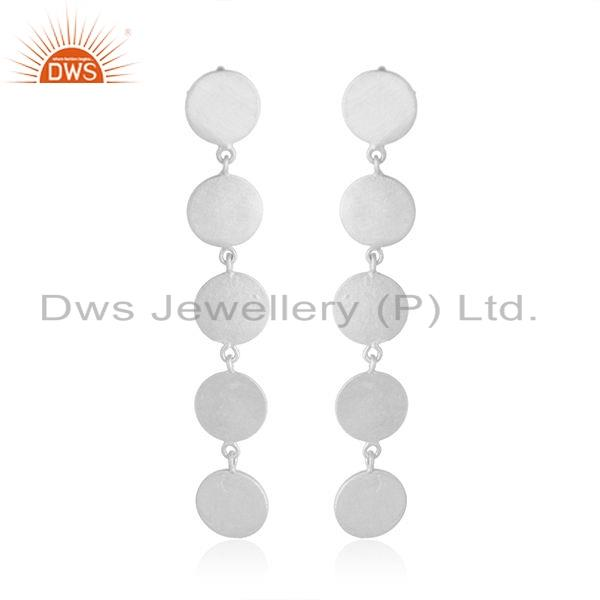 Hot Look Sterling Plain Silver Designer Girls Dangle Earrings Jewelry