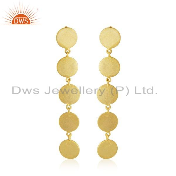 14k Gold Plated Leaf 925 Plain 925 Silver Earrings Jewelry For Girls