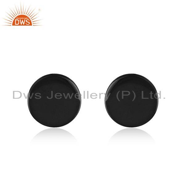 925 Sterling Plain Silver Black Rhodium Plated Stud Earrings Supplier