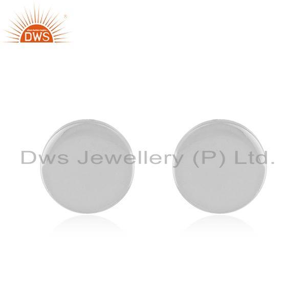 Handmade 925 Sterling Fine Silver Round Stud Earrings Manufacturer