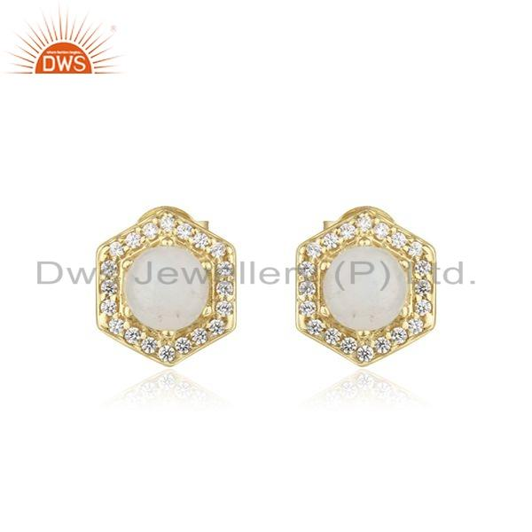 Gold Plated 925 Silver CZ Rainbow Moonstone Stud Earrings Jewelry
