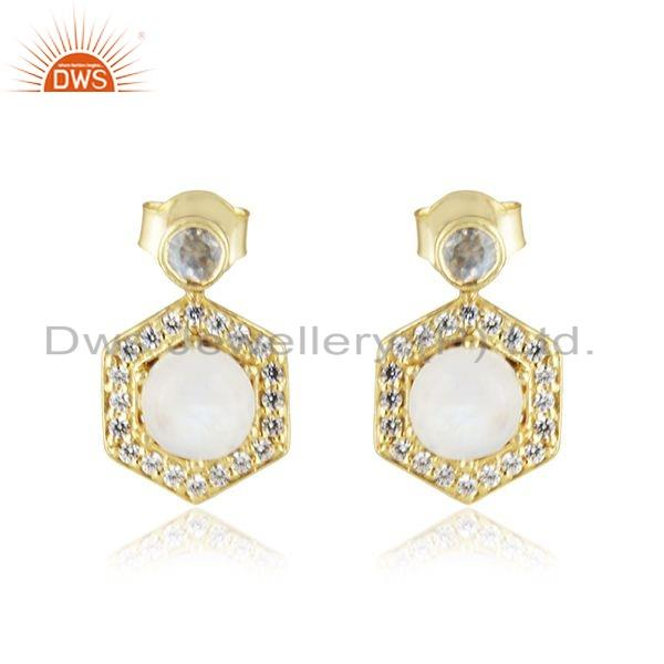 Rainbow Moonstone CZ Gemstone Gold Plated Silver Girls Earring Jewelry