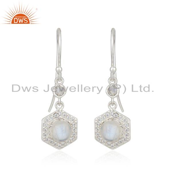Sterling Fine Silver CZ Rainbow Moonstone Gemstone Earrings Supplier