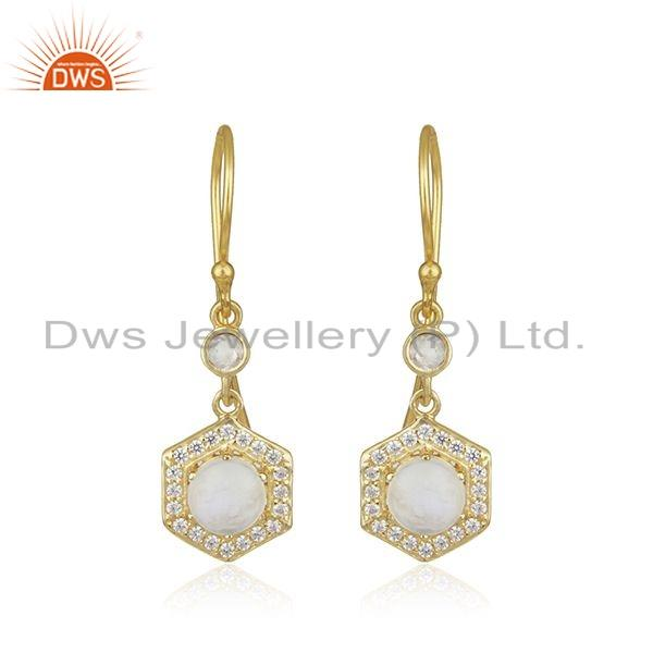 Gold Plated Silver Rainbow Moonstone CZ Gemstone Earrings For Womens