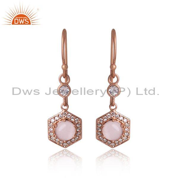 Rose Quartz, CZ Rose Gold Silver Fish Wire Hexagon Earrings