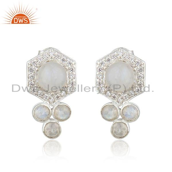 Rainbow Moonstone CZ 925 Silver Designer Earrings Jewelry For Womens