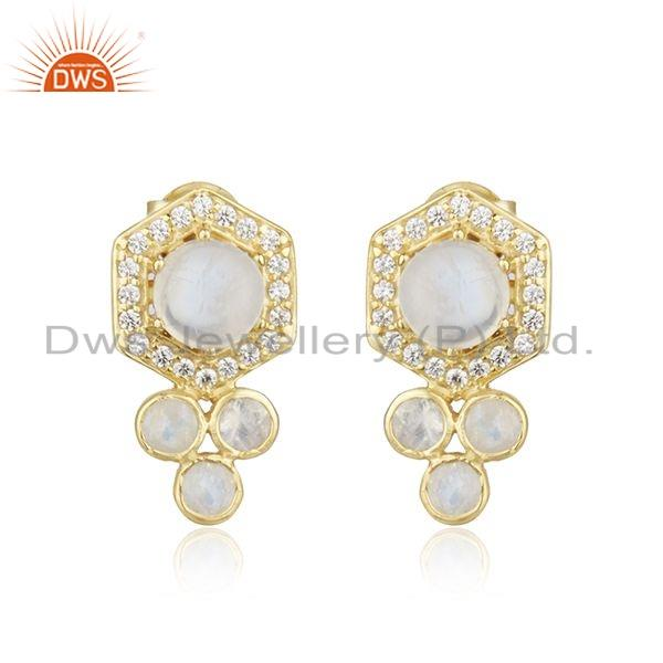 Designer Rainbow Moonstone CZ Gold Plated 925 Silver Earrings Jewelry