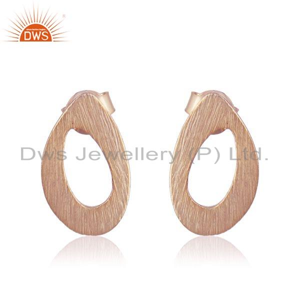 Texture Rose Gold Plated Designer Plain Silver Stud Earrings Jewelry