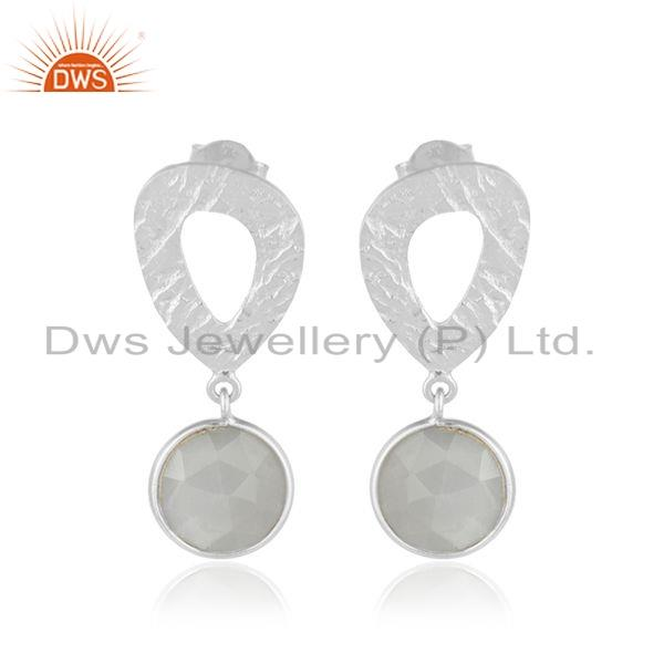 925 Silver Gray Moonstone Gemstone Texture Handmade Earrings Jewelry