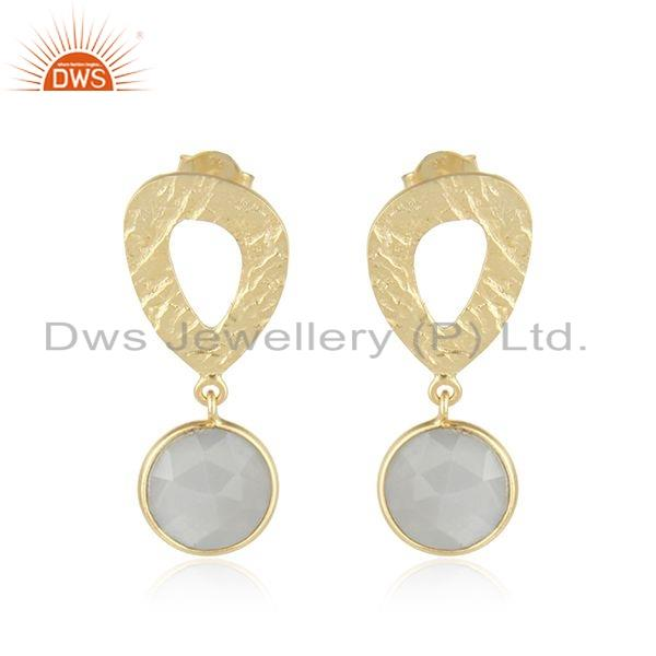 Texture Gold Plated Silver Gray Moonstone Gemstone Earrings Jewelry