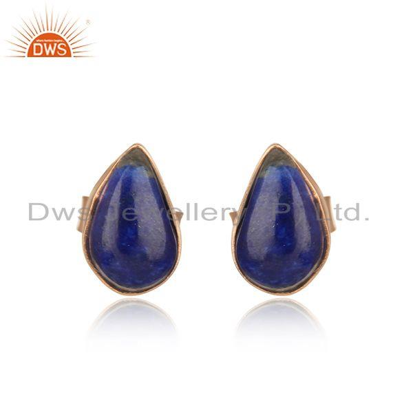 Simple and elegant lapis stud in rose gold on silver 925