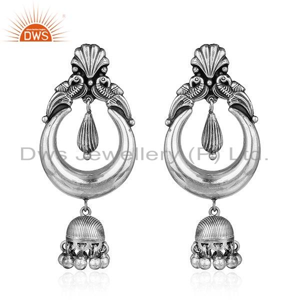 Traditional Bali Oxidized Design 925 Sterling Silver Jhumka Earrings