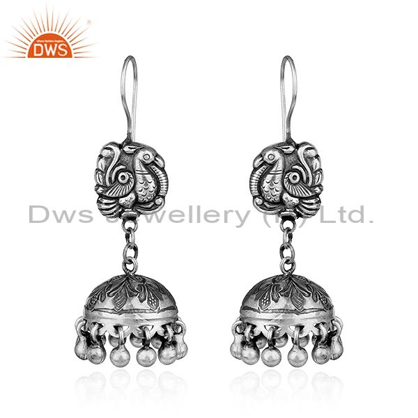 Traditional Peacock Design Womens Oxidized Sterling Silver Earrings
