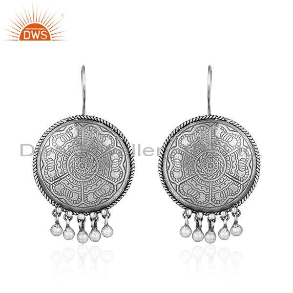 Indian designer antique oxidized plated silver disc earrings jewelry