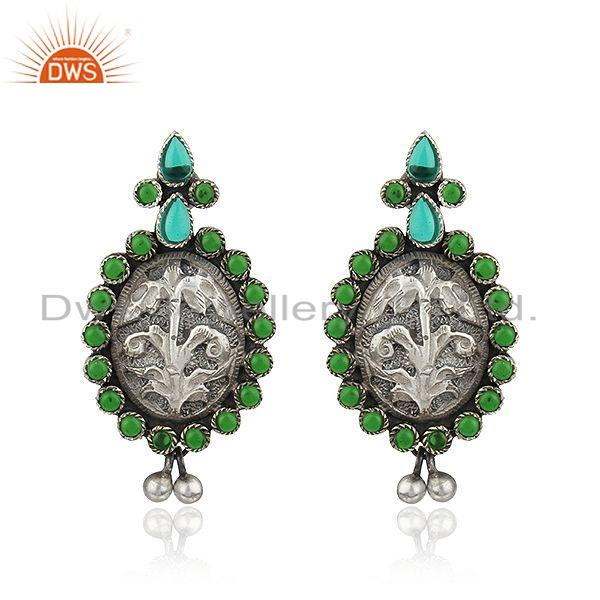 Antique Design Hydro Green Gemstone Oxidized Sterling Silver Earrings