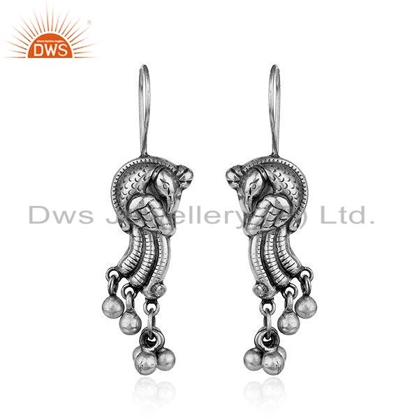 Traditional Peacock Design Oxidized Tribal Silver Earrings Jewelry